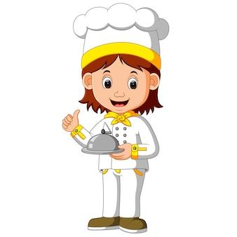 Chef cocinero con plato