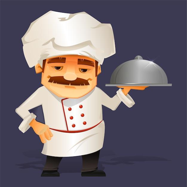 Chef cocinero sirviendo comida