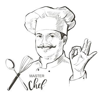 Chef cocinero vector línea boceto dibujado a mano ilustración