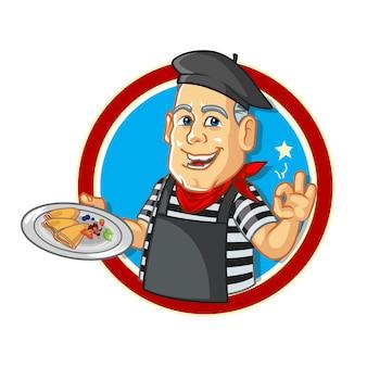 Chef de crepes franceses de dibujos animados
