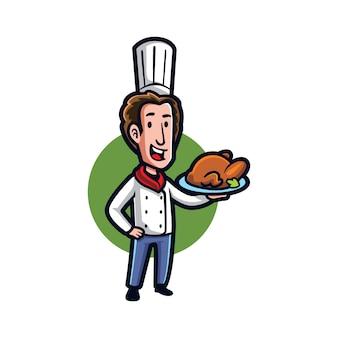 Chef de dibujos animados cocinar pollo