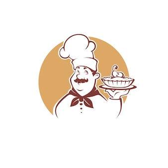 Chef de dibujos animados feliz sosteniendo un pastel de pera dulce, ilustración para su logotipo de panadería, emblema, etiqueta, signo
