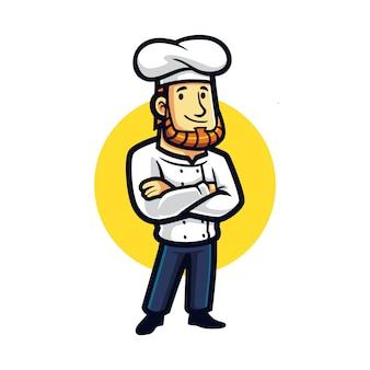 Chef de dibujos animados mascota estable