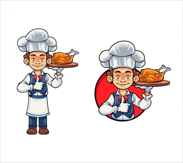 Chef de dibujos animados pollo y barbacoa