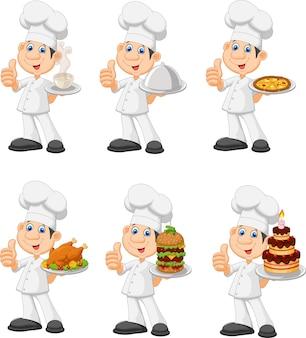 Chef divertido de dibujos animados con un conjunto de plata colección de platos