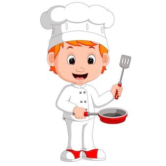 Chef divertido de dibujos animados con sartén