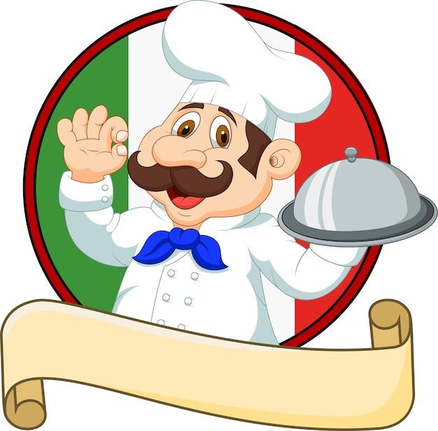 Chef divertido de dibujos animados sosteniendo un plato de plata