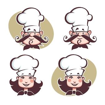Chef feliz hombre y mujer