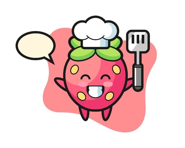 Chef de fresa cocina de dibujos animados