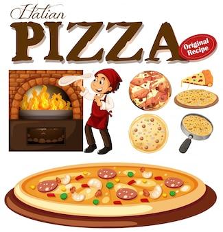 Chef haciendo pizza en el horno ilustración