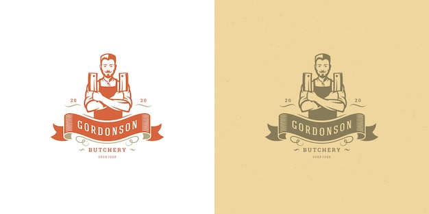 Chef de ilustración de logotipo de carnicería con conjunto de silueta de cuchillos