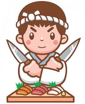 Chef japonés de dibujos animados