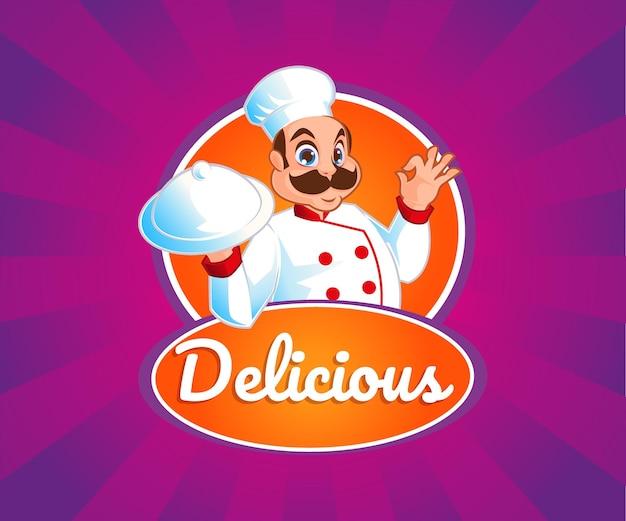 Un chef con logo de mascota de comida deliciosa.