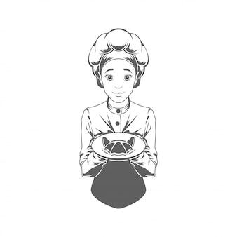Chef mujer dando croissant vector ilustración silueta aislado