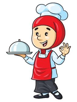 Chef mujer de dibujos animados con hijab