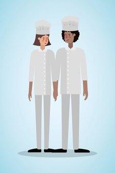 Chef mujer y hombre con sombrero