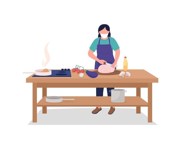 Chef mujer en mascarilla plana