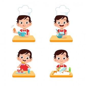 Chef niños cocinando
