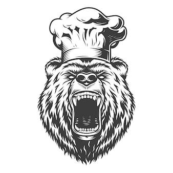 Chef oso cabeza en gorro de cocinero