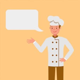 Chef con personaje de chat bubbles.