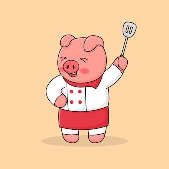Chef piggy holding espátula