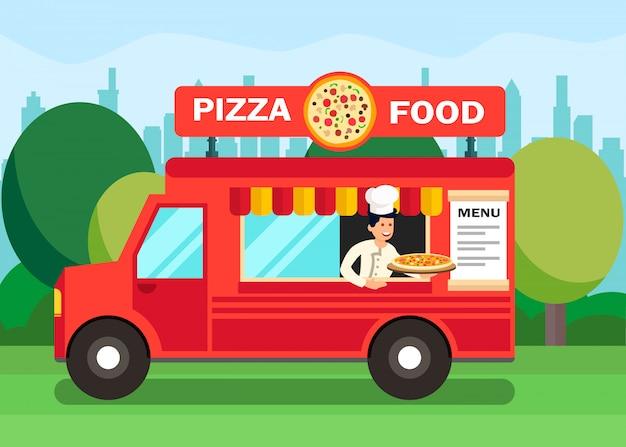 Chef en pizza comida camión ilustración de dibujos animados