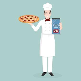 Chef y pizza, entrega de comida online.