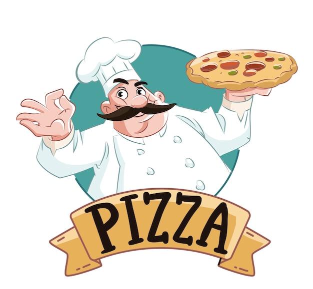 Chef de pizza con pizza