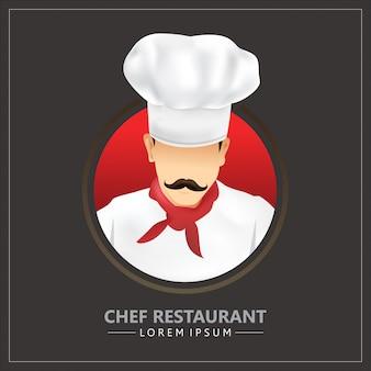 Chef de restaurante con icono de bigote con uniformes y sombreros de chef