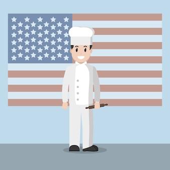 Chef sobre bandera declarada unida