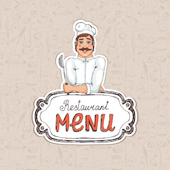 Chef sosteniendo una cuchara en el menú del restaurante ilustración de dibujo para portada o publicidad