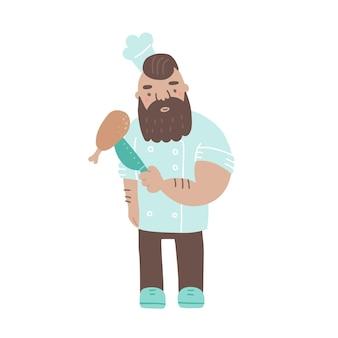 Chef sosteniendo un cuchillo y una pierna de pollo personaje de cocinero masculino fresco con ilustración de vector plano de barba