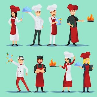 Chefs de diferentes cocinas en conjunto de iconos