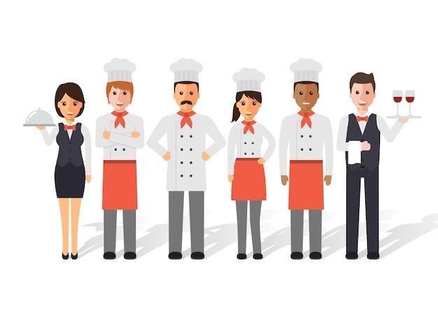Chefs y equipo de restaurante.