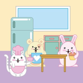 Chefs gato conejo ratón kawaii en dibujos animados de cocina