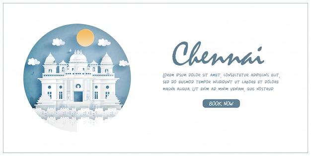 Chennai, india. monumento de fama mundial con marco blanco y etiqueta. postal de viaje y cartel, folleto, ilustración publicitaria.