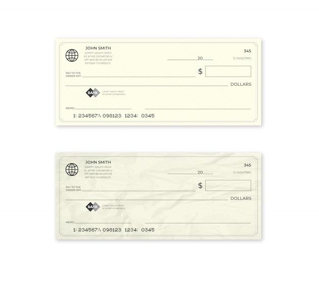 Cheque bancario en blanco realista. cheque nuevo y arrugado.