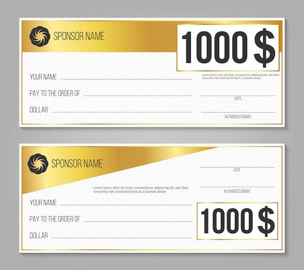 Cheque ganador del evento de pago