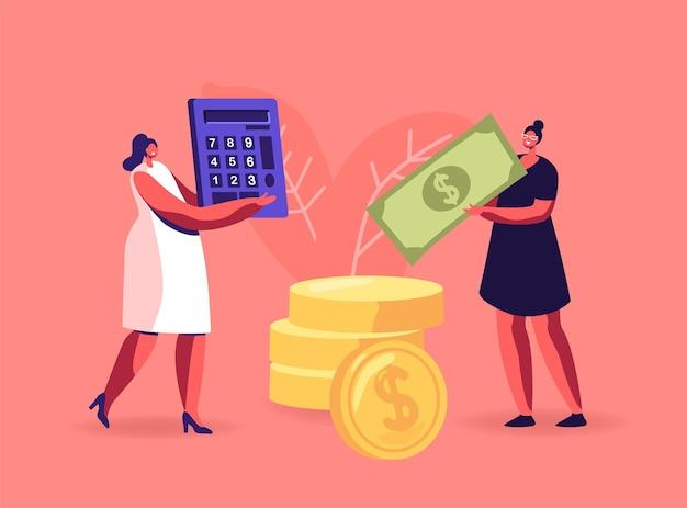 Cheque de pago, ingresos salariales, ilustración de éxito financiero