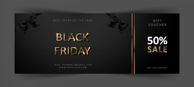 Cheque regalo de black friday. cupón de descuento comercial. fondo negro con letras doradas.