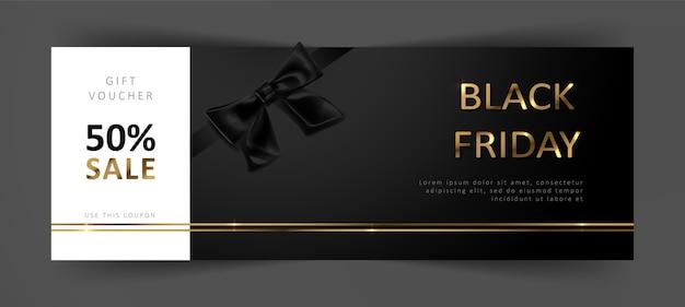 Cheque regalo de black friday. cupón de descuento comercial.