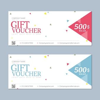 Cheque regalo con diseño simple