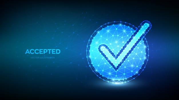 Cheque . bajo símbolo poligonal aceptado. señal de marca marca de verificación, confirmar, forma de círculo aprobada.