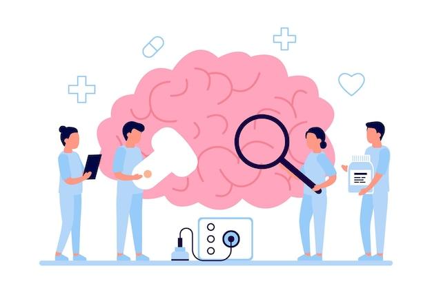Chequeo diagnóstico de salud cerebral por médico.
