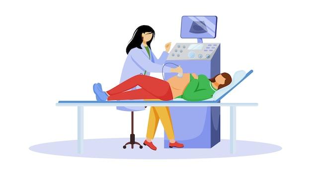 Chequeo ecográfico de la ilustración plana del feto. embarazo asistencial. mujer embarazada con médico ginecólogo en clínica personajes de dibujos animados aislados sobre fondo blanco.
