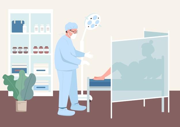 Chequeo de embarazo color plano. examen clínico de salud. mujer embarazada en gabinete de ginecólogo. médico y paciente personajes de dibujos animados 2d con interior en el fondo