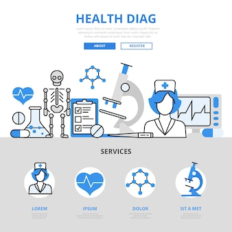 Chequeo médico diagnóstico médico laboratorio prueba de laboratorio concepto de servicio hospitalario estilo de línea plana.