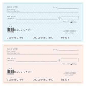 Cheques bancarios en blanco o talonario de cheques, ilustración vectorial.
