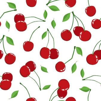 Cherry berry con hojas aisladas sobre un fondo blanco.