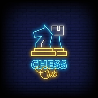 Chess club neon signs style text